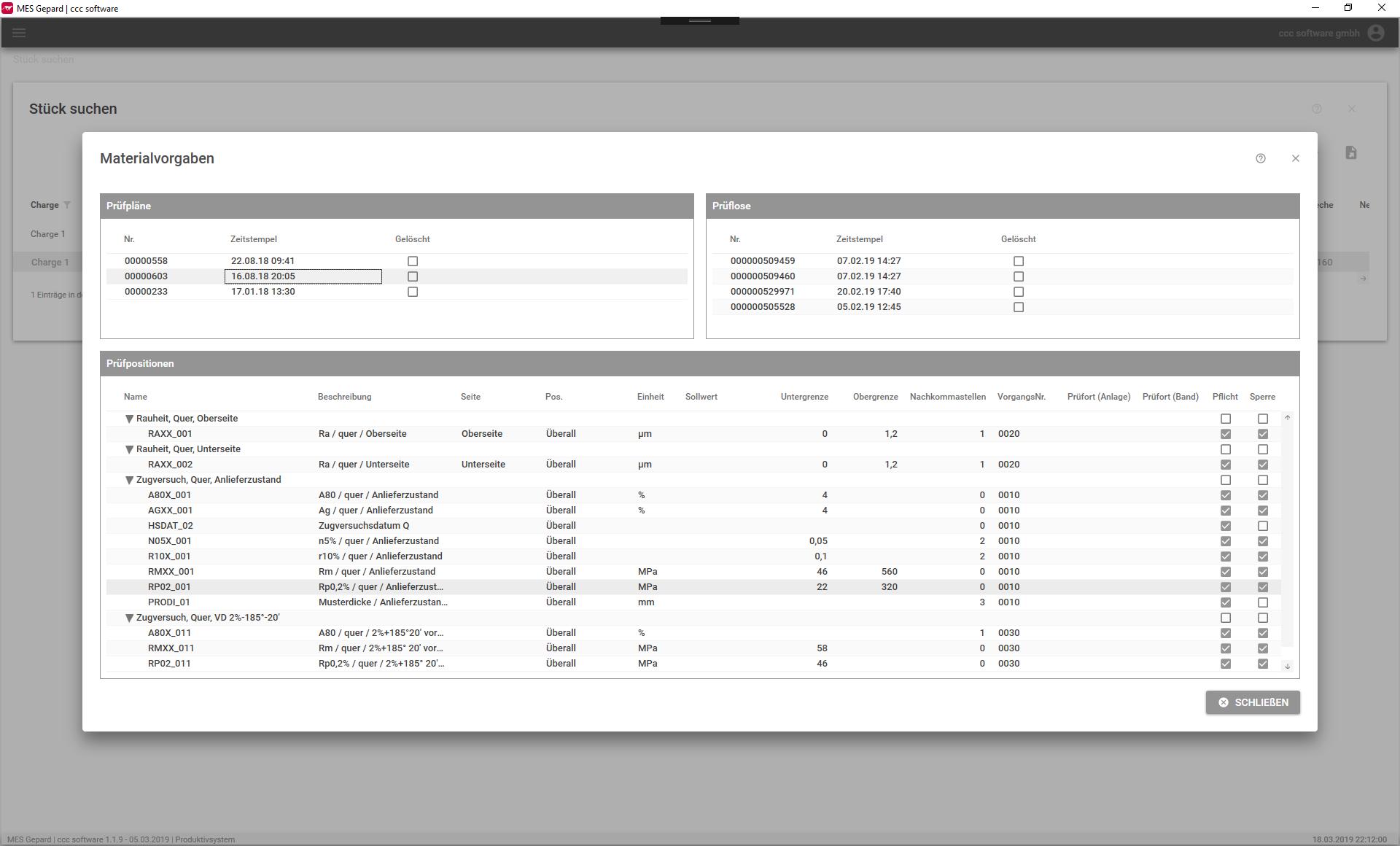 Materialvorgaben MES Screenshot